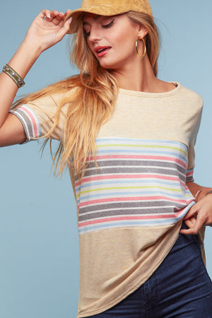 Oatmeal Multi Stripe Blouse