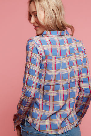 Blue Chiffon Plaid Blouse