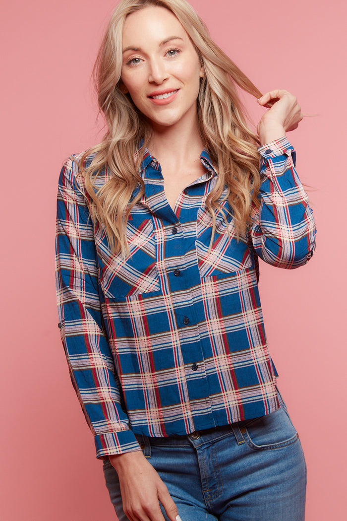 Dark Blue Chiffon Plaid Blouse