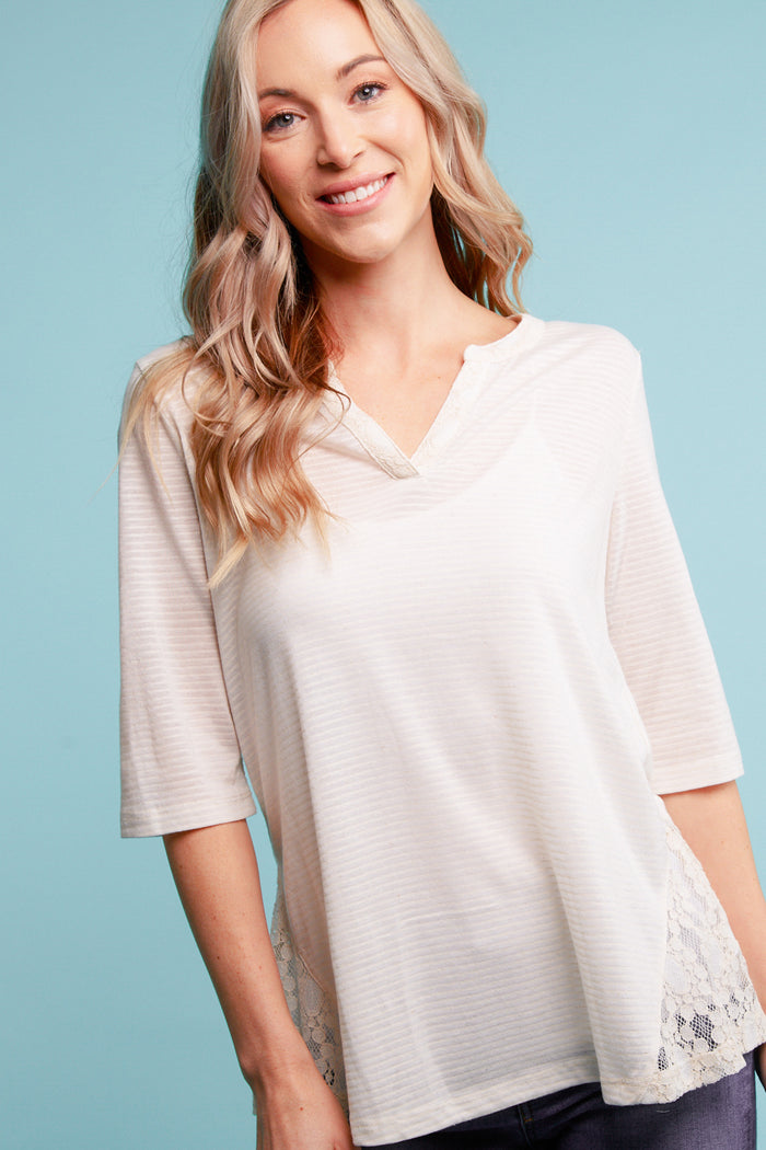 Taupe Stripe Crochet Blouse