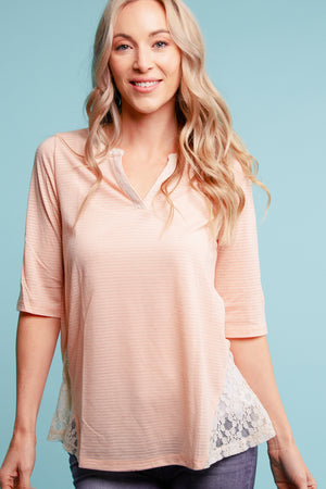 Blush Stripe Crochet Blouse