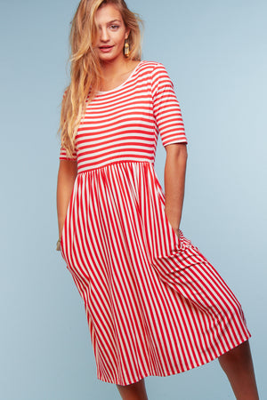 Coral Stripe Midi Dress