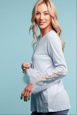 Blue Lace Sleeve Blouse