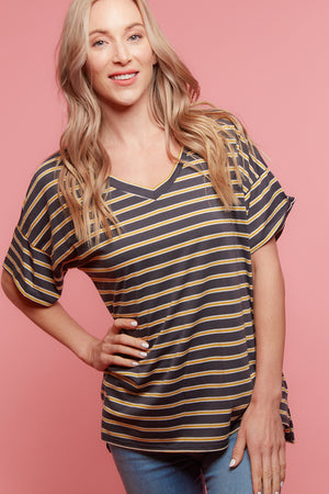 Charcoal Stripe Blouse