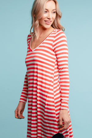 Coral Stripe Tunic Dress