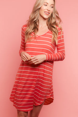 Coral Stripe Dress