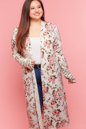 Plus Ivory Stripe Floral Cardigan
