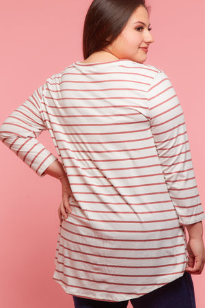 Plus Ivory Stripe Tie Hem Blouse