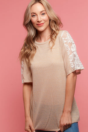 Taupe Crochet Blouse