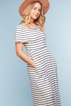 Ivory Stripe Crochet Sleeve Maxi Dress