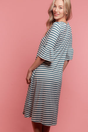 Blue Stripe Bell Sleeve Dress