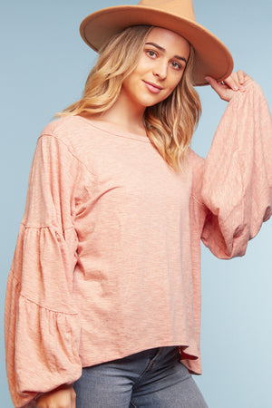 Pink Bubble Sleeve Blouse