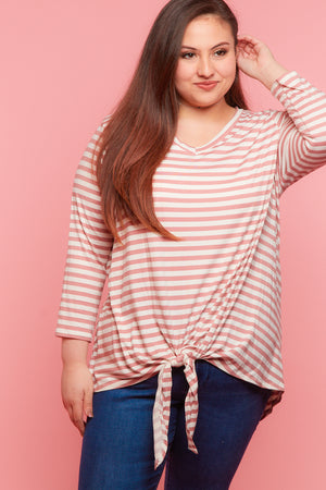 Plus Blush Stripe Tie Hem Blouse