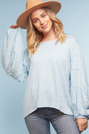 Blue Bubble Sleeve Blouse