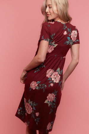 Maroon Floral Midi Dress