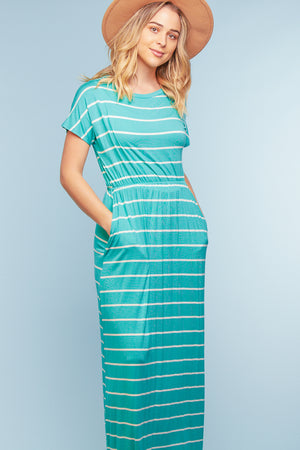 Mint Stripe Sleeve Maxi Dress