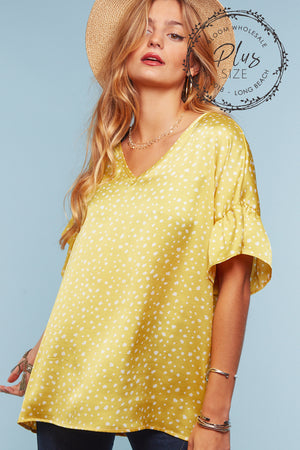 Plus Yellow Animal Printed Blouse