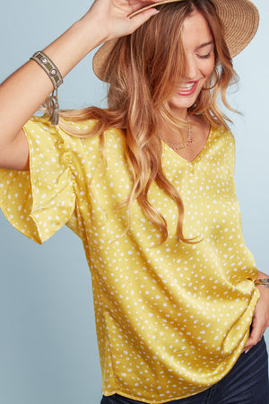 Yellow Animal Printed Blouse