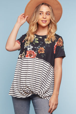 Black Floral Stripe Color Block Twist Blouse