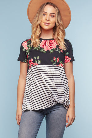 Black & Pink Floral Stripe Twist Blouse