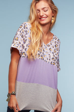 Lilac Animal Color Block Blouse