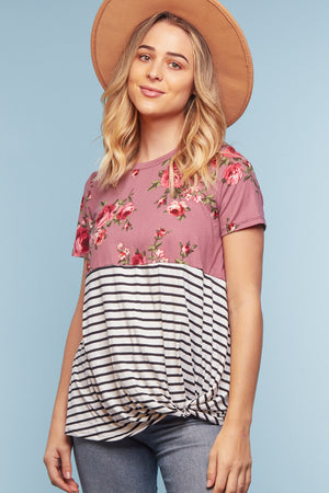 Mauve Floral Stripe Twist Blouse