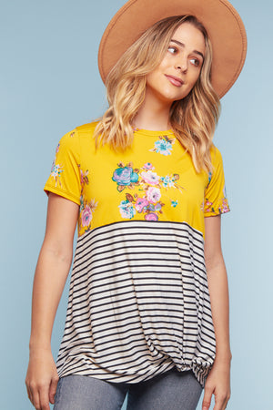 Yellow Floral Stripe Twist Blouse