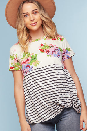 Ivory Floral Stripe Twist Blouse