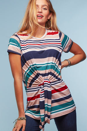 Teal Multi Stripe Tie Front Blouse