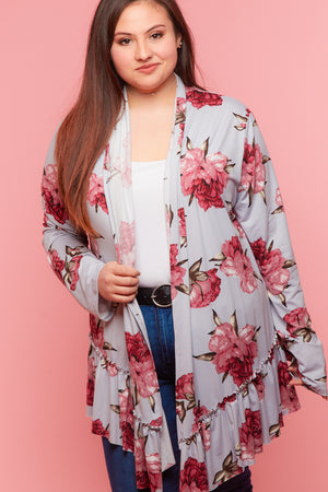 Plus Grey Floral Flutter Hem Cardigan