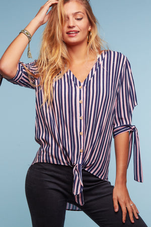 Navy & Pink Vertical Stripe Tie Hem Blouse