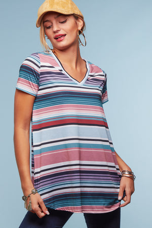 Pink Multi Stripe Blouse