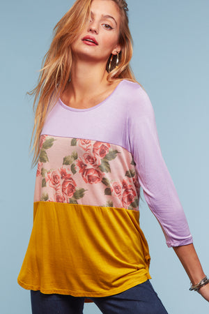 Yellow Color Block Floral Blouse
