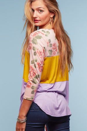 Pink Color Block Floral Blouse