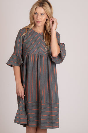 Grey Vertical Lined Ruffle Sleeve Dress