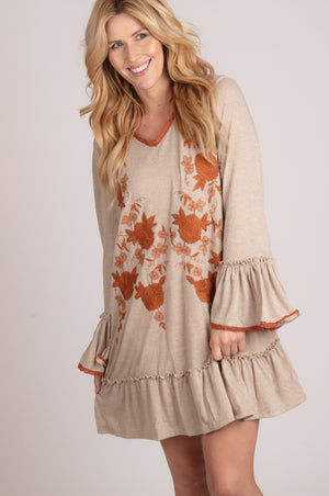 Taupe Embroidered Crochet Dress