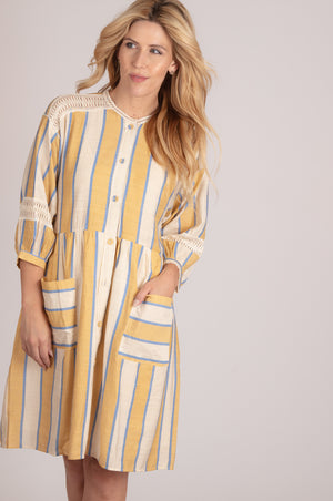 Yellow Vertical Line Button Dress