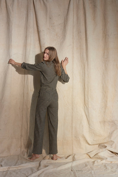 Wool Check Jumpsuit