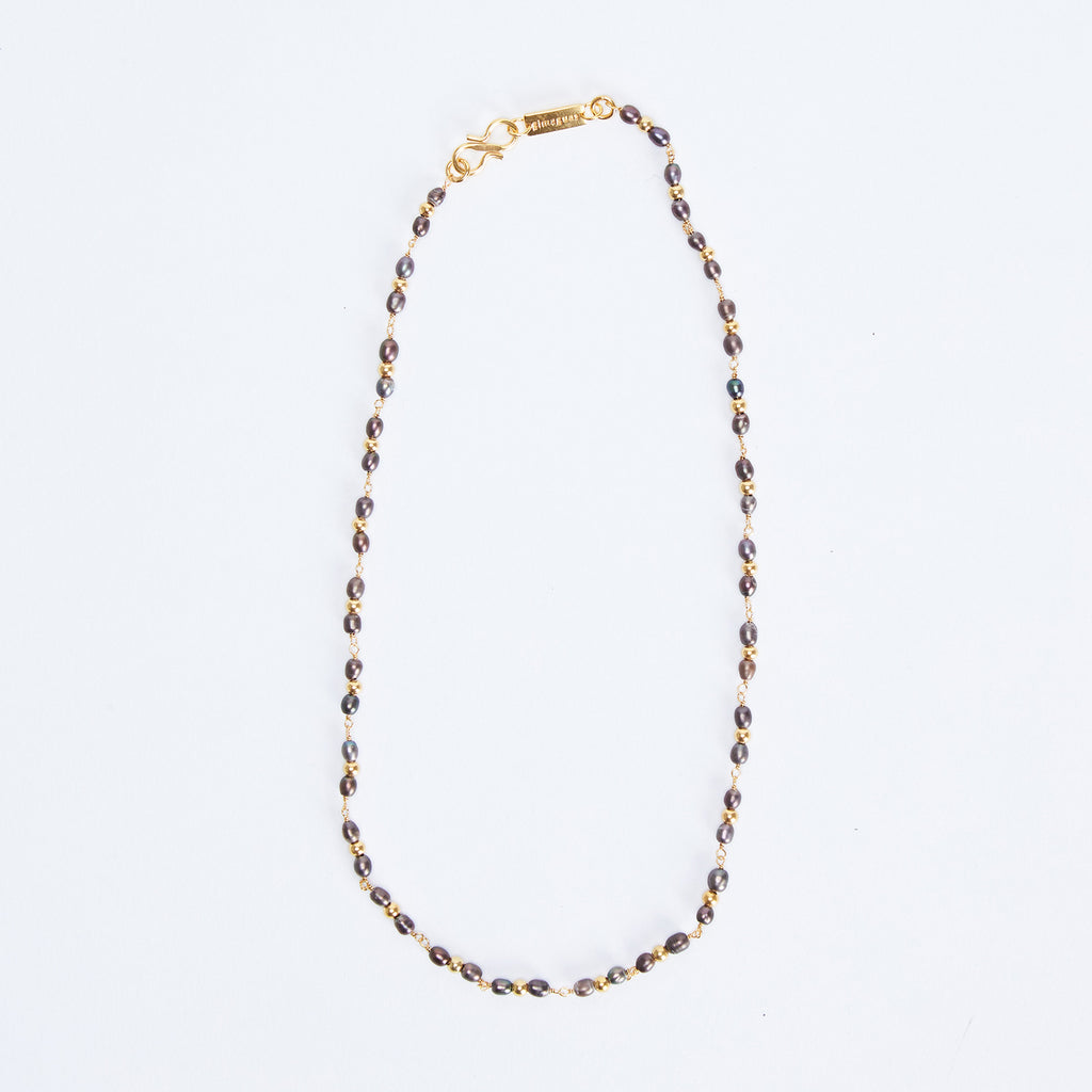 Thin Black Pearl Necklace
