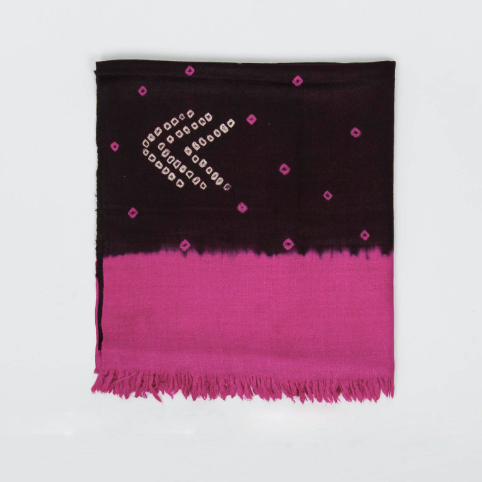 Wool Scarf in Bandhani Technique