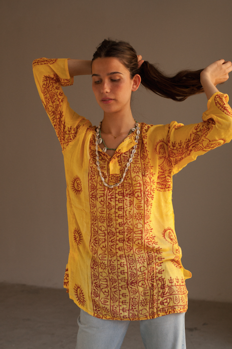Om Yellow Kurta