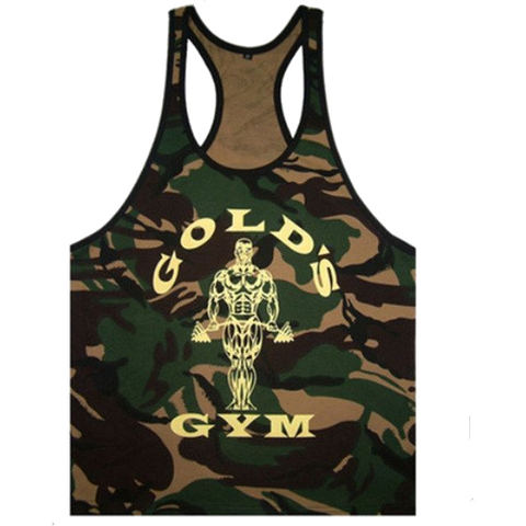 Camo/Army Golds Gym Stringer