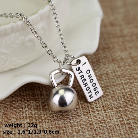 """I Choose Strength"" Bodybuilding/Fitness KettleBell Necklace Accessory"