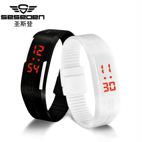 Digital LED Fitness Watch Black and white