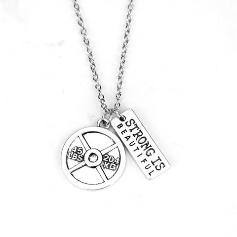 """Strong IS Beautiful"" 45LB Plate Bodybuilding/Fitness Necklace Accessory"