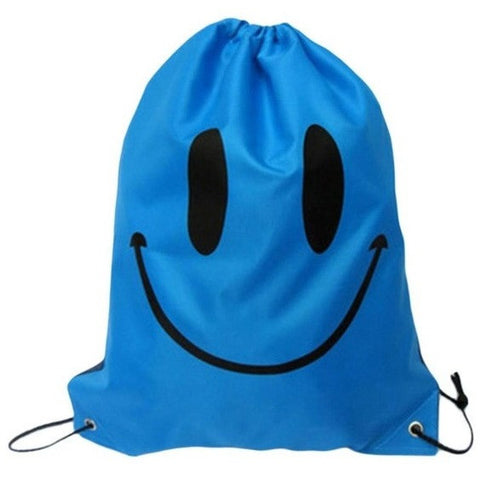 Blue Mr. Smiley Drawstring Gymsack