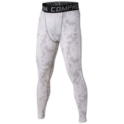 White Mesh Compression Pants for Mens Fitness and Lifting