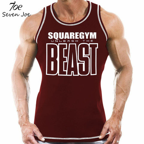 SquareGym BEAST Gym Tanktop - Red - Absolutely Aesthetic Apparel
