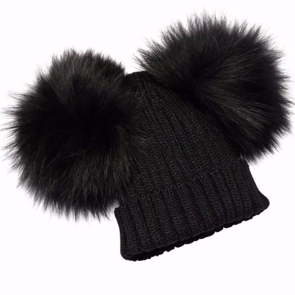 PYC luxury double pom pom hat in black