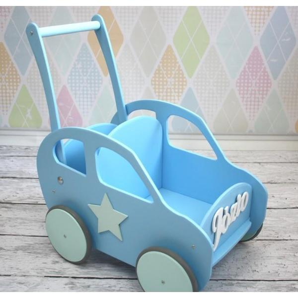Wooden Car - Bright Blue - Pretty Yum Co